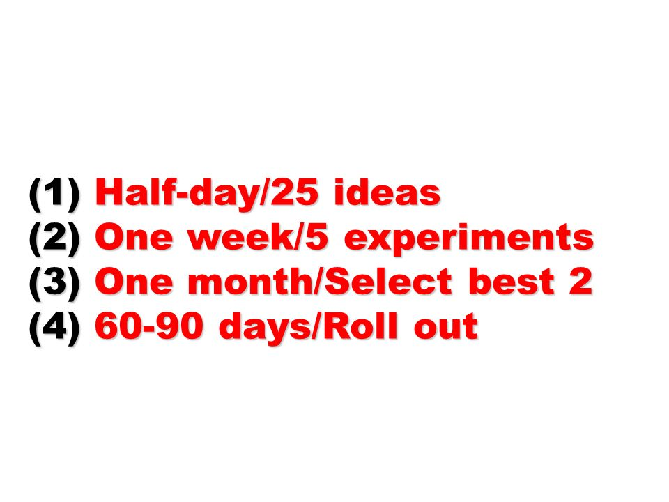 Half-day/25 ideas One week/5 experiments (3) One month/Select best 2 (4) days/Roll out