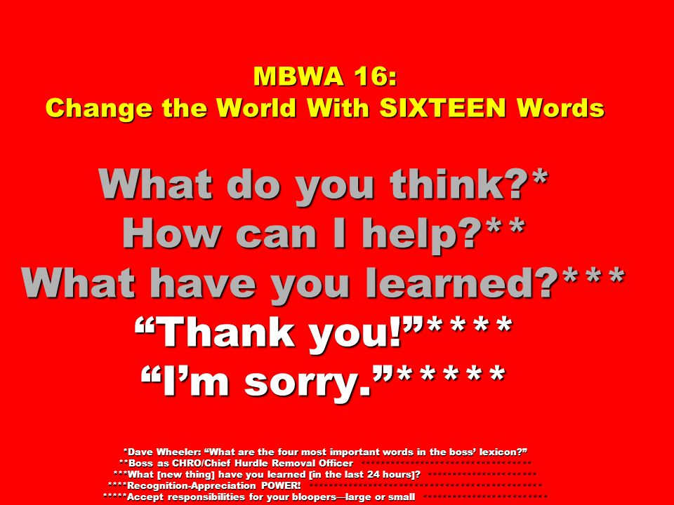 MBWA 16: Change the World With SIXTEEN Words What do you think