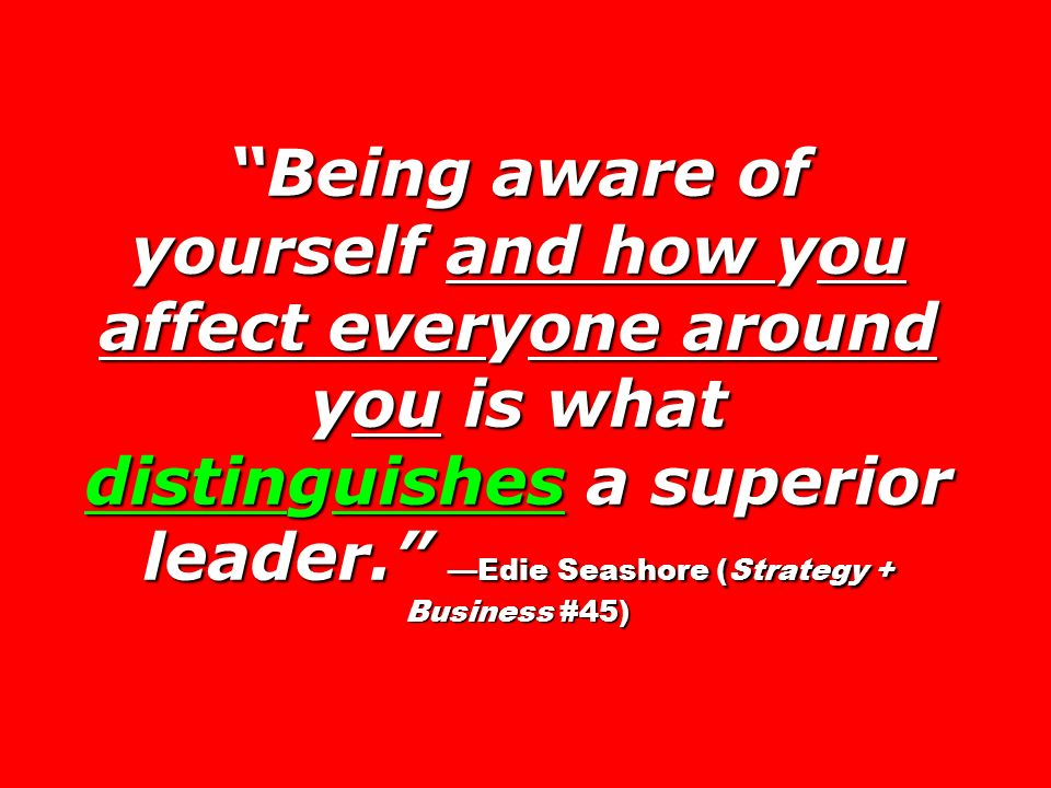 Being aware of yourself and how you affect everyone around you is what distinguishes a superior leader. —Edie Seashore (Strategy + Business #45)