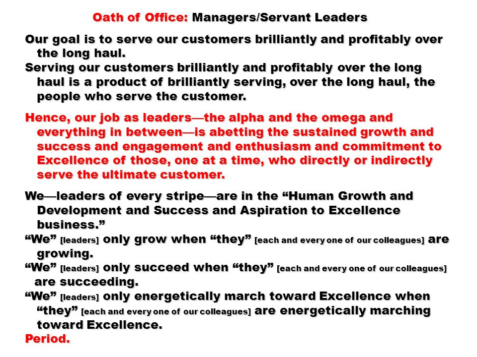 Oath of Office: Managers/Servant Leaders