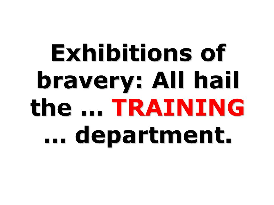 Exhibitions of bravery: All hail the … TRAINING … department.