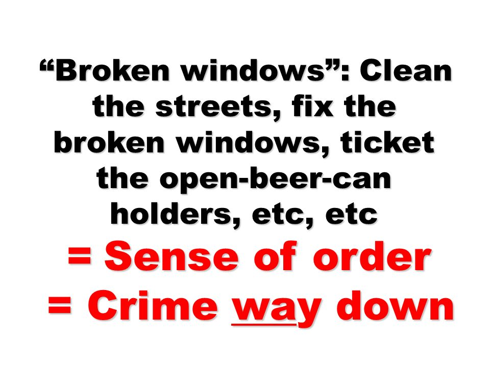 = Crime way down = Sense of order