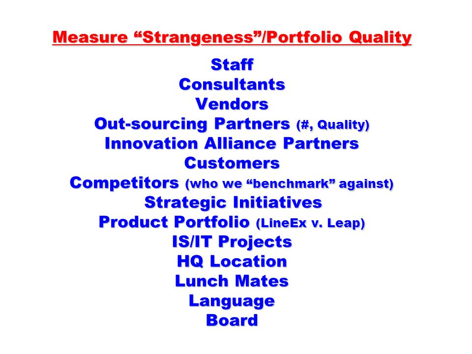 Measure Strangeness /Portfolio Quality Staff Consultants Vendors Out-sourcing Partners (#, Quality) Innovation Alliance Partners Customers Competitors (who we benchmark against) Strategic Initiatives Product Portfolio (LineEx v.