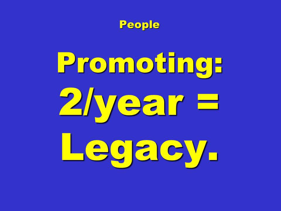 People Promoting: 2/year = Legacy.