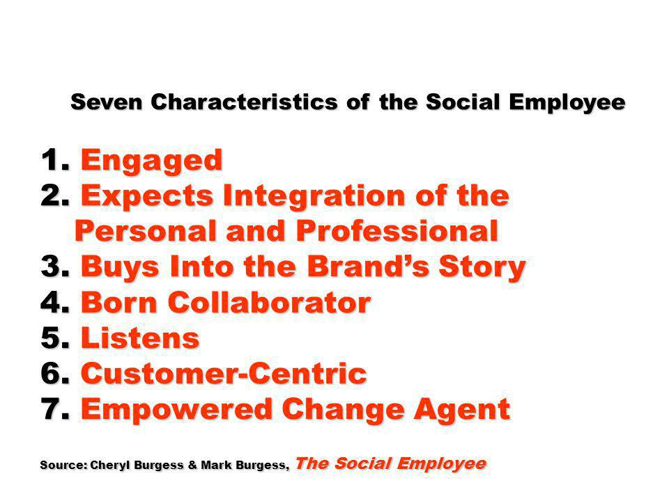 2. Expects Integration of the Personal and Professional