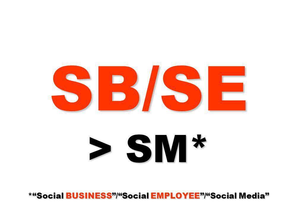 SB/SE > SM* * Social BUSINESS / Social EMPLOYEE / Social Media