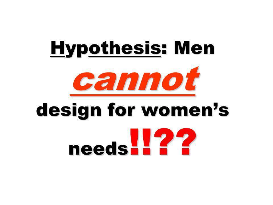 Hypothesis: Men cannot design for women's needs!!