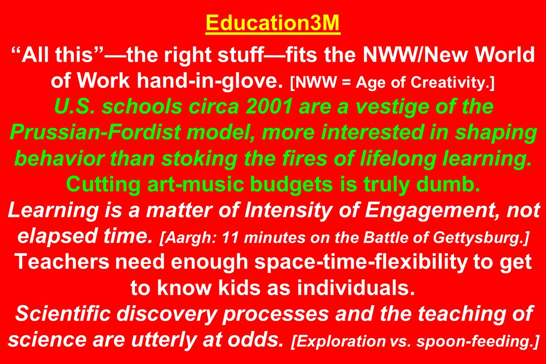 Education3M All this —the right stuff—fits the NWW/New World of Work hand-in-glove.