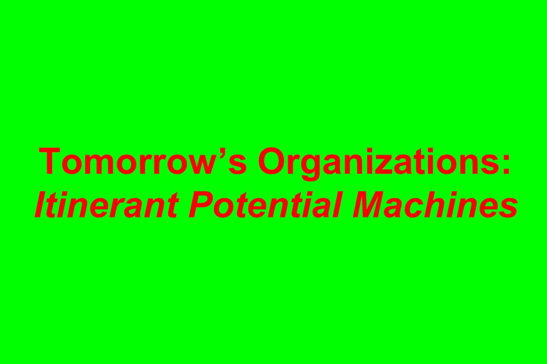 Tomorrow's Organizations: Itinerant Potential Machines