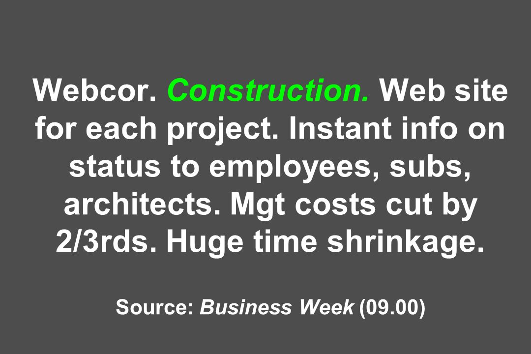 Webcor. Construction. Web site for each project