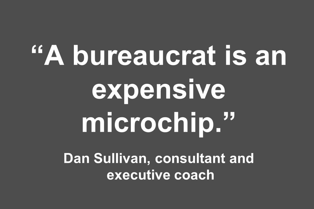 A bureaucrat is an expensive microchip
