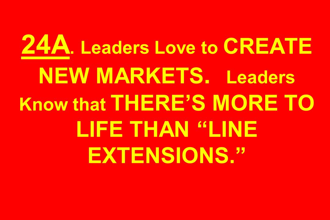 24A. Leaders Love to CREATE NEW MARKETS