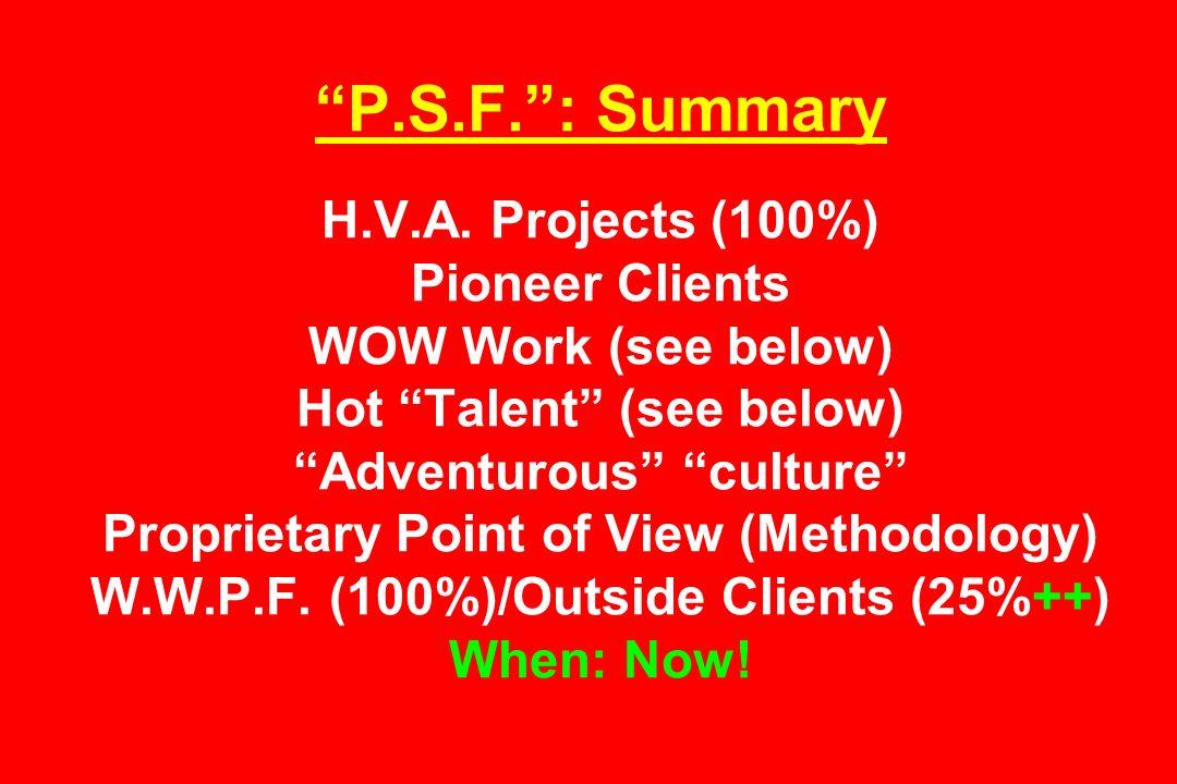 P.S.F. : Summary H.V.A.