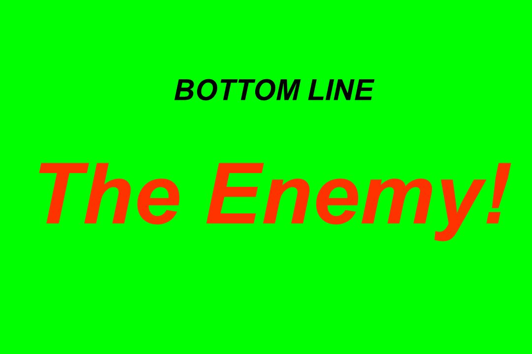 BOTTOM LINE The Enemy! Implementation is a Soft Art! I.e.: It's all about people. [Duh!]