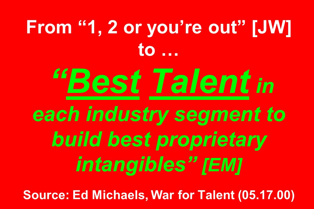From 1, 2 or you're out [JW] to … Best Talent in each industry segment to build best proprietary intangibles [EM] Source: Ed Michaels, War for Talent ( )