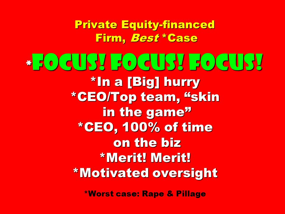 Private Equity-financed Firm, Best. Case. Focus. Focus. Focus