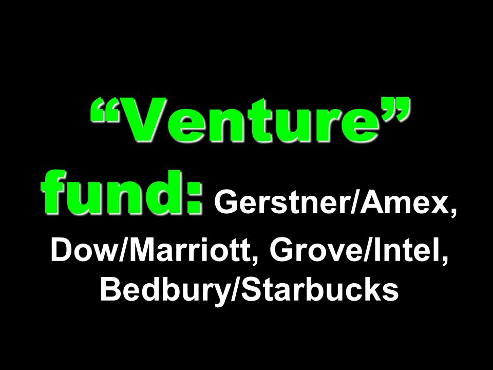 Venture fund: Gerstner/Amex, Dow/Marriott, Grove/Intel, Bedbury/Starbucks