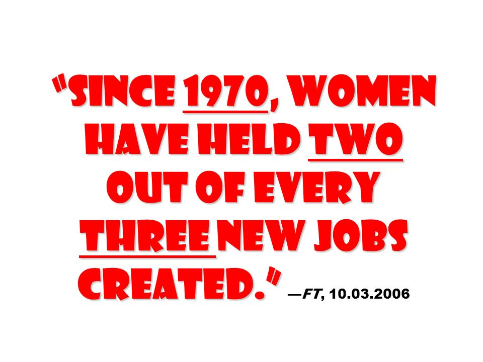 Since 1970, women have held two out of every three new jobs created
