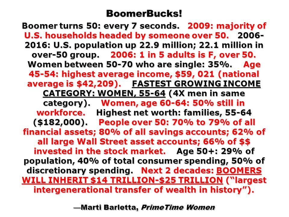 BoomerBucks. Boomer turns 50: every 7 seconds. 2009: majority of U. S