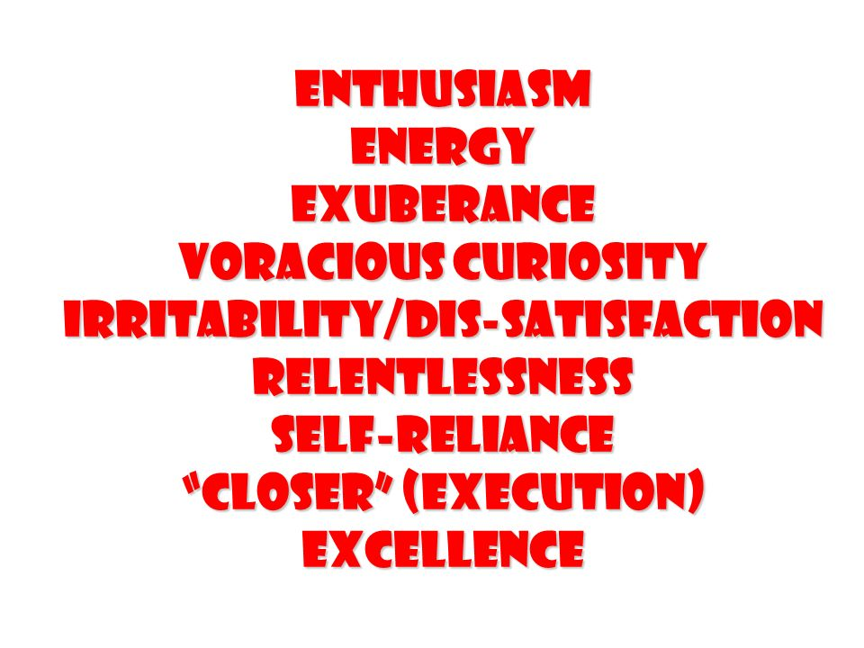 Enthusiasm Energy Exuberance Voracious Curiosity Irritability/Dis-satisfaction Relentlessness Self-reliance Closer (Execution) excellence