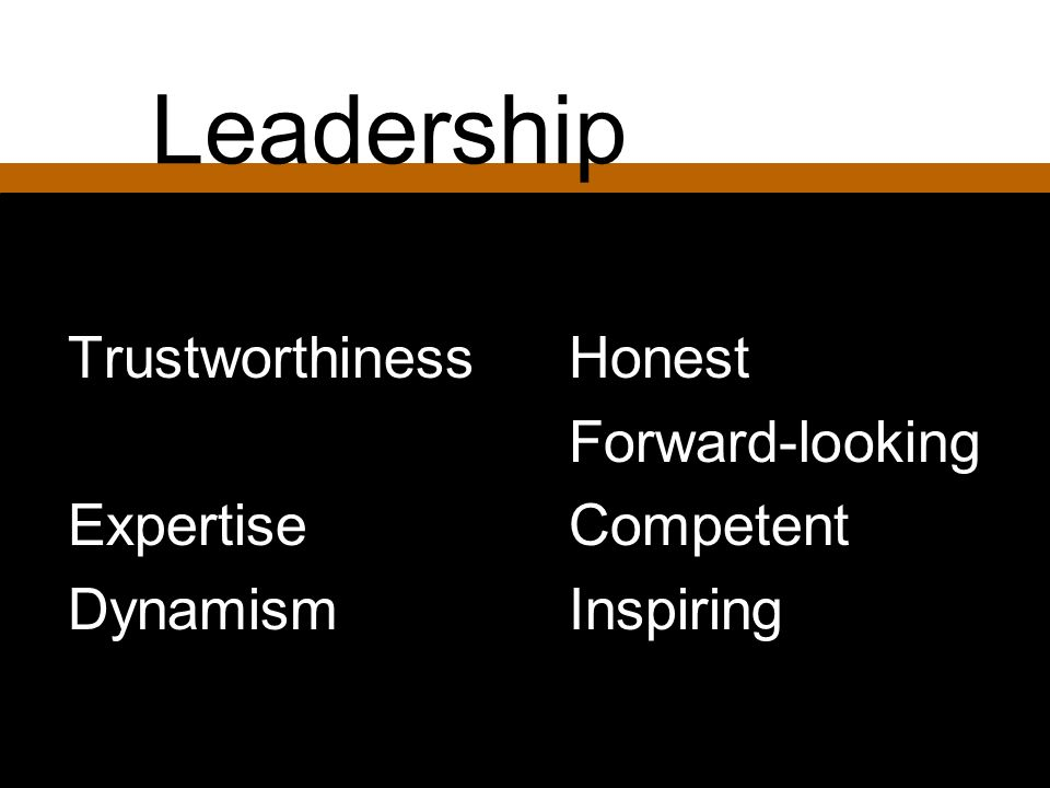 Leadership Trustworthiness Expertise Dynamism Honest Forward-looking