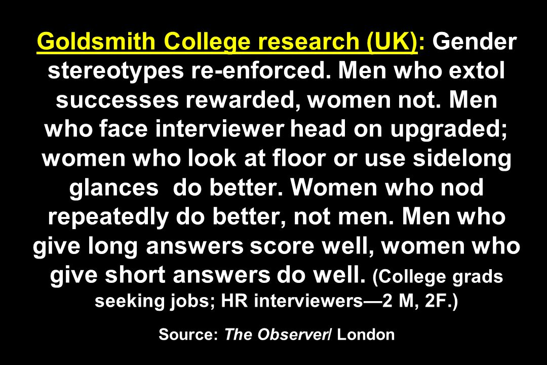Goldsmith College research (UK): Gender stereotypes re-enforced