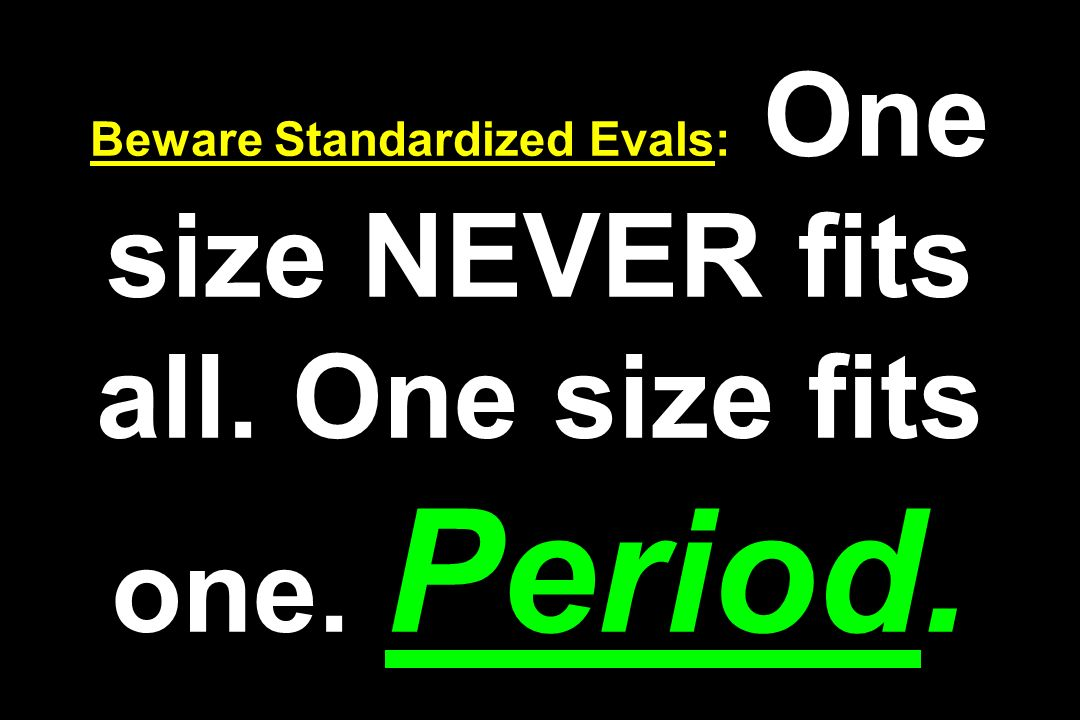 Beware Standardized Evals: One size NEVER fits all. One size fits one