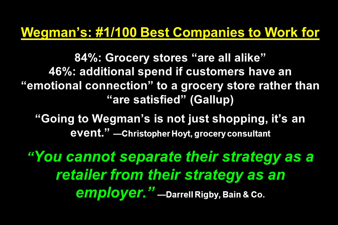 Wegman's: #1/100 Best Companies to Work for 84%: Grocery stores are all alike 46%: additional spend if customers have an emotional connection to a grocery store rather than are satisfied (Gallup) Going to Wegman's is not just shopping, it's an event. —Christopher Hoyt, grocery consultant You cannot separate their strategy as a retailer from their strategy as an employer. —Darrell Rigby, Bain & Co.