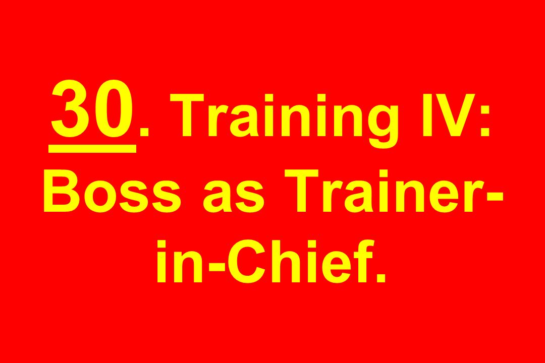 30. Training IV: Boss as Trainer-in-Chief.