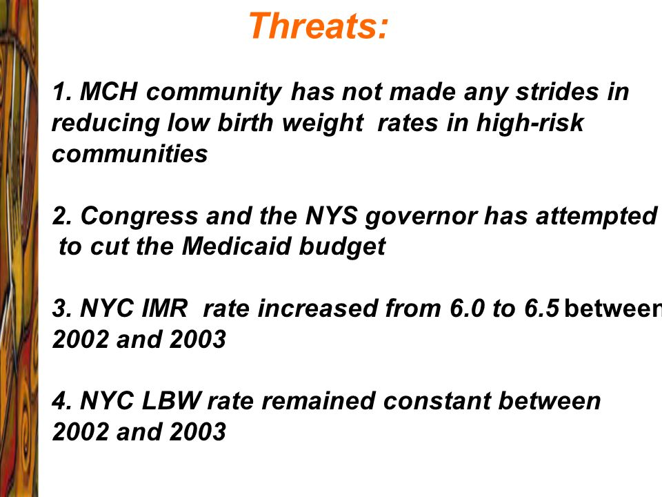Threats: 1. MCH community has not made any strides in reducing low birth weight rates in high-risk communities.