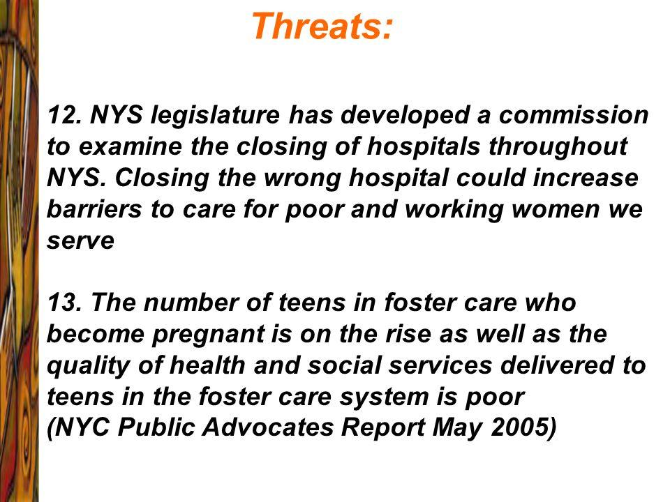 Threats: 12. NYS legislature has developed a commission