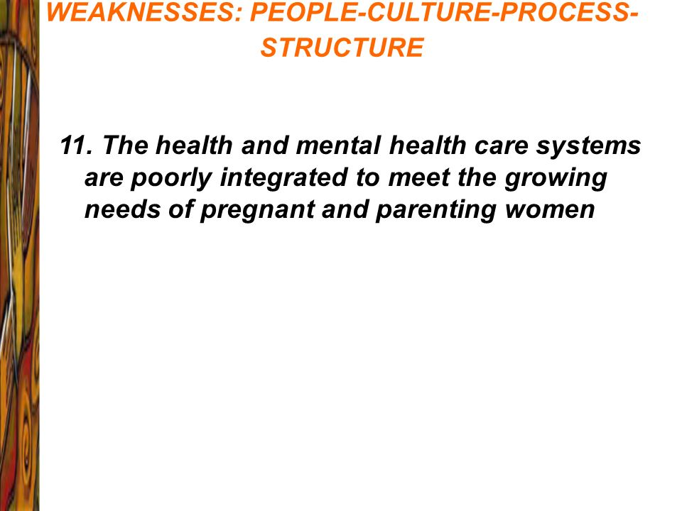 WEAKNESSES: PEOPLE-CULTURE-PROCESS-STRUCTURE