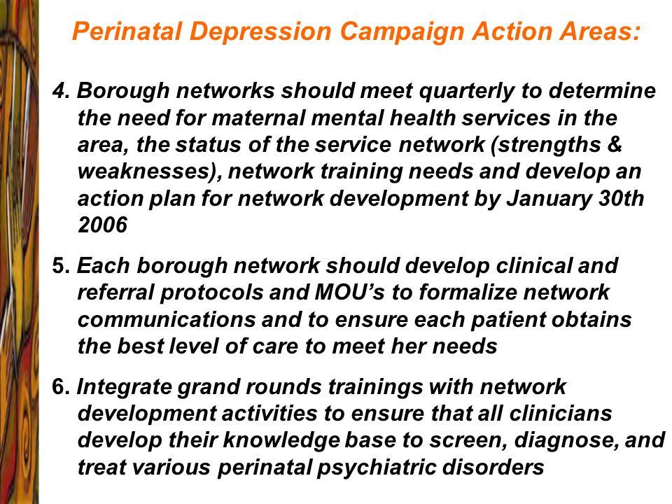 Perinatal Depression Campaign Action Areas: