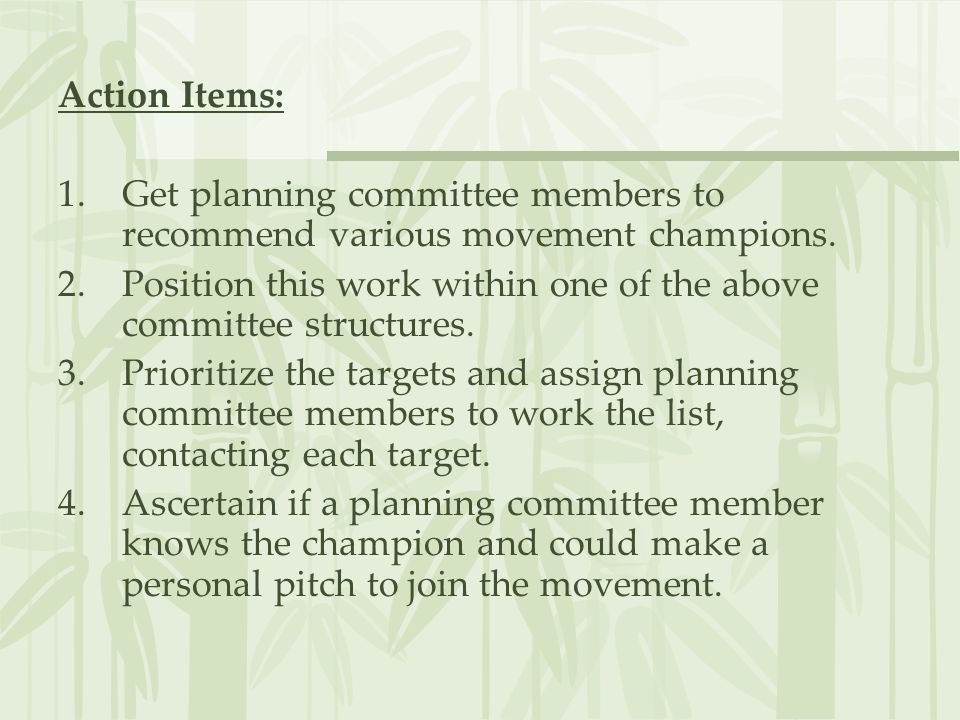 Action Items: Get planning committee members to recommend various movement champions.