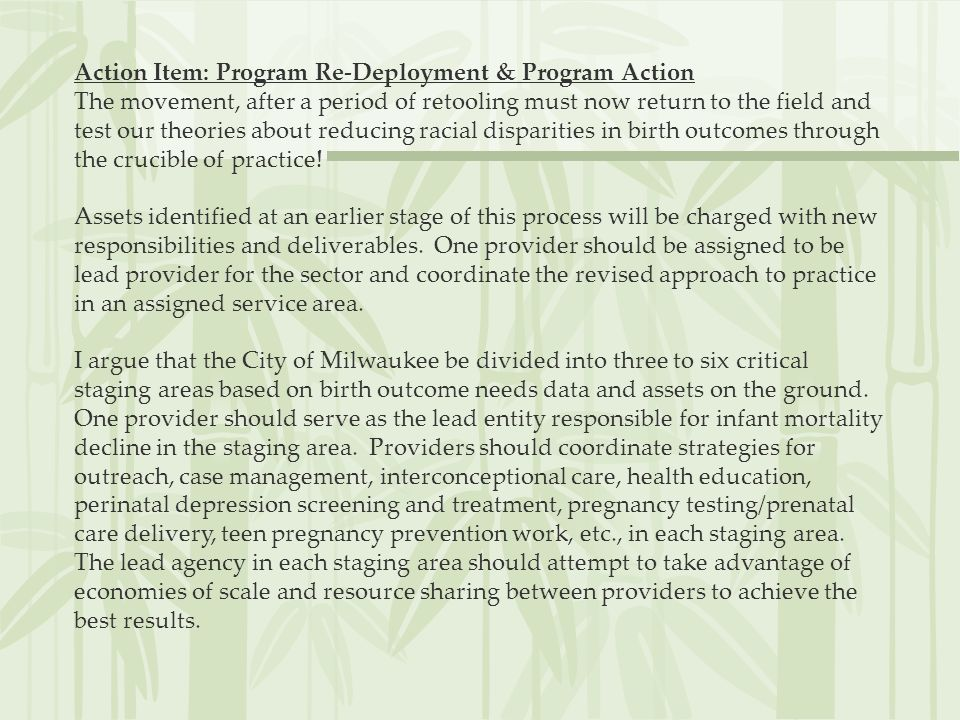 Action Item: Program Re-Deployment & Program Action