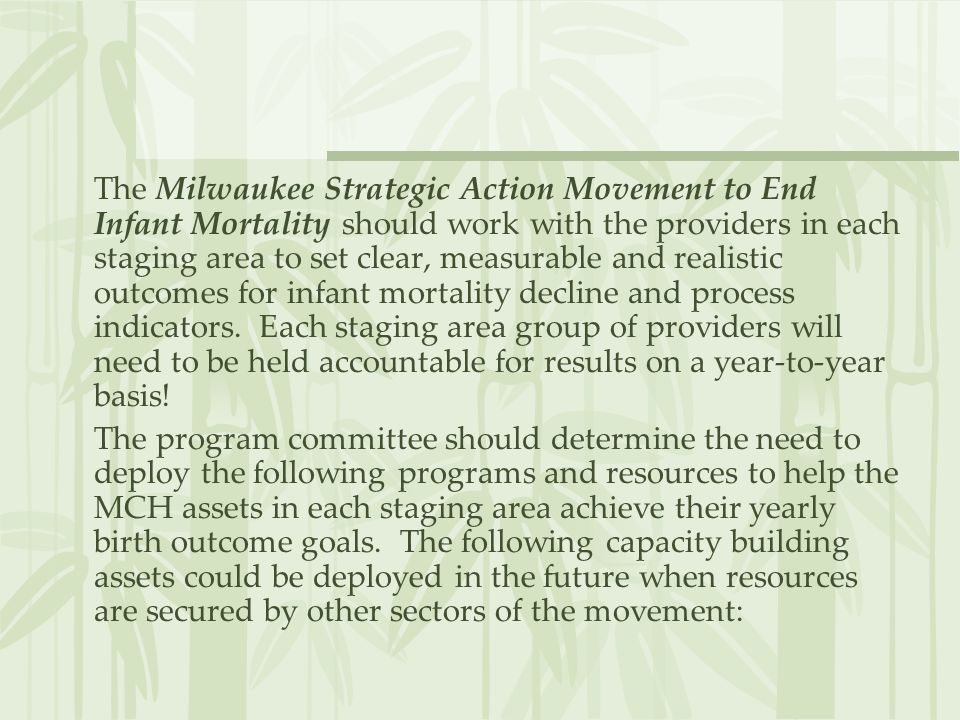 The Milwaukee Strategic Action Movement to End Infant Mortality should work with the providers in each staging area to set clear, measurable and realistic outcomes for infant mortality decline and process indicators. Each staging area group of providers will need to be held accountable for results on a year-to-year basis!