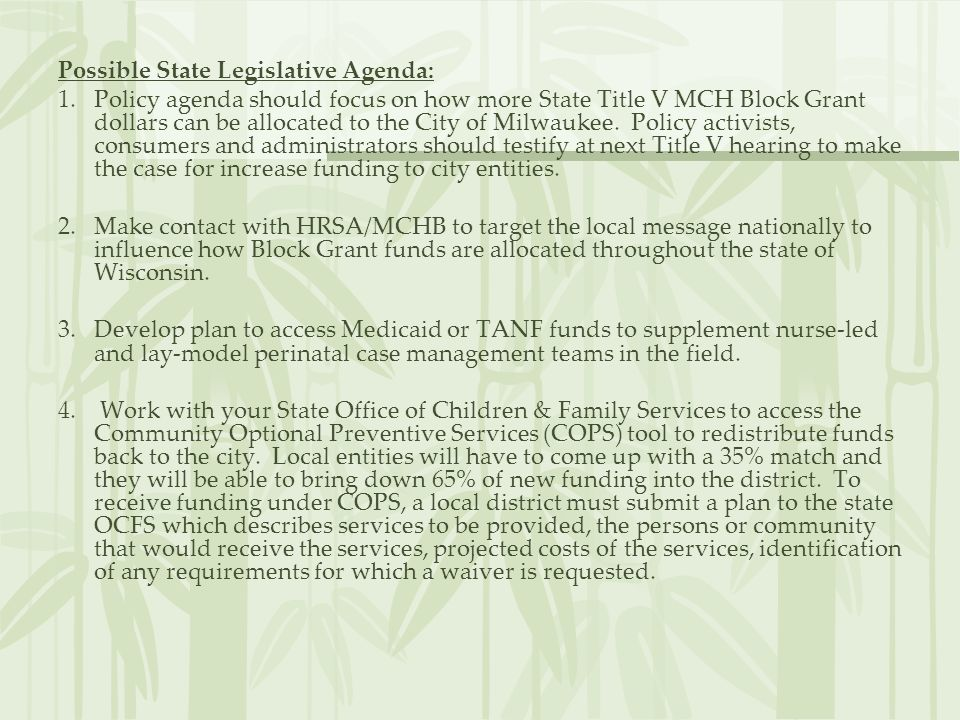 Possible State Legislative Agenda: