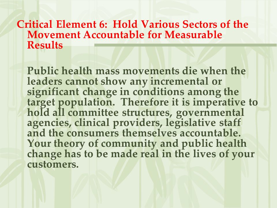 Critical Element 6: Hold Various Sectors of the Movement Accountable for Measurable Results