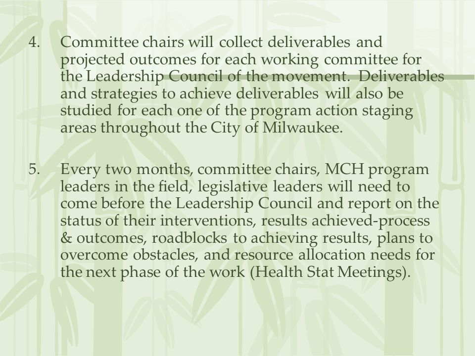 Committee chairs will collect deliverables and projected outcomes for each working committee for the Leadership Council of the movement. Deliverables and strategies to achieve deliverables will also be studied for each one of the program action staging areas throughout the City of Milwaukee.