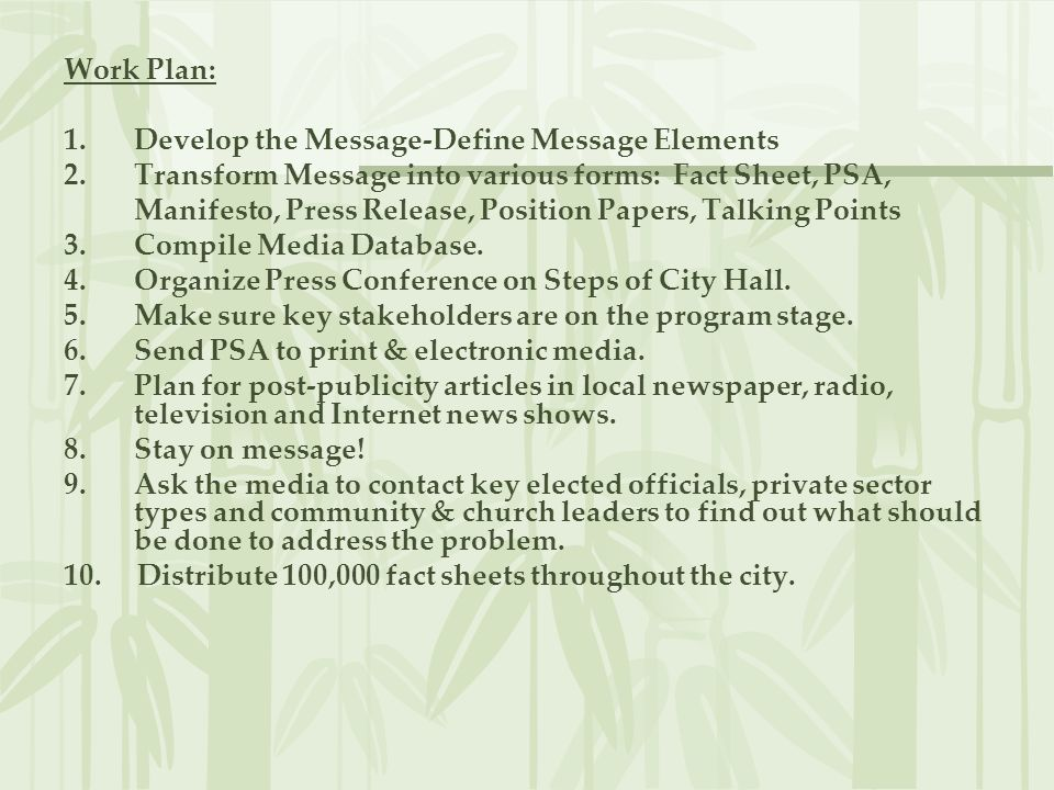 Work Plan: Develop the Message-Define Message Elements. Transform Message into various forms: Fact Sheet, PSA,