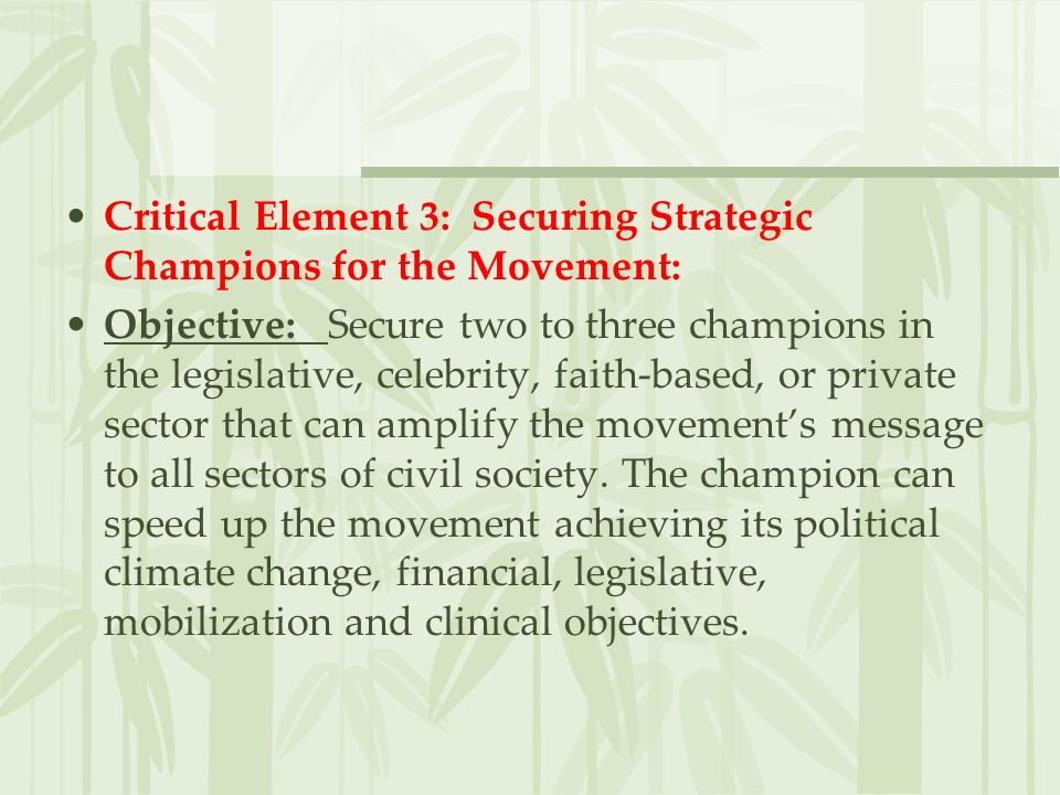 Critical Element 3: Securing Strategic Champions for the Movement: