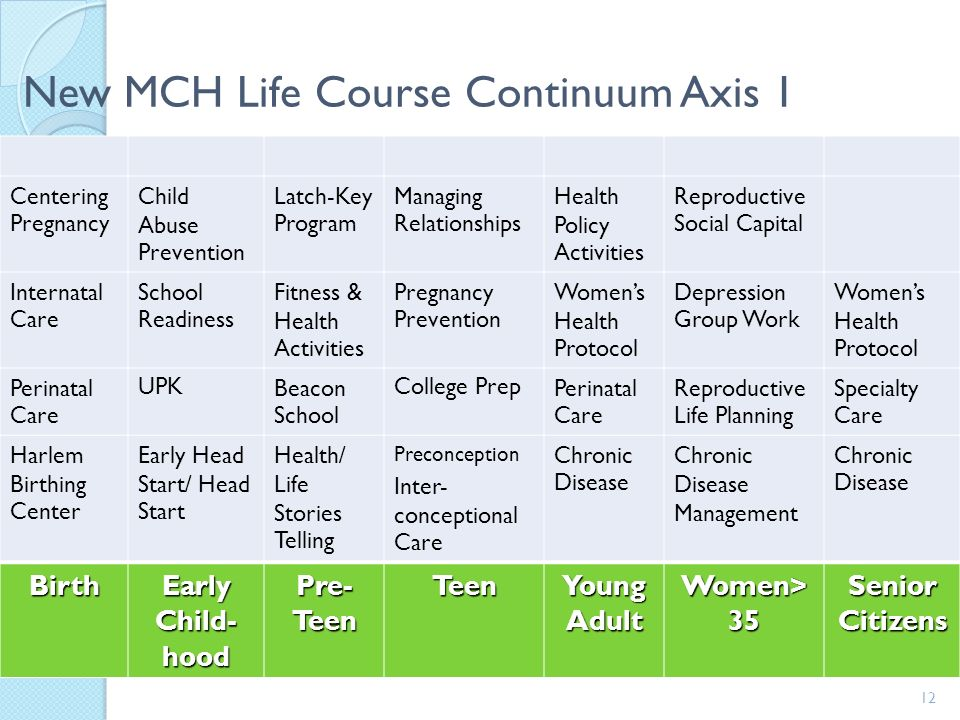 New MCH Life Course Continuum Axis 1