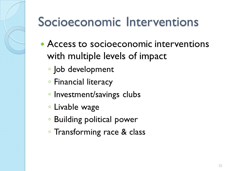 Socioeconomic Interventions