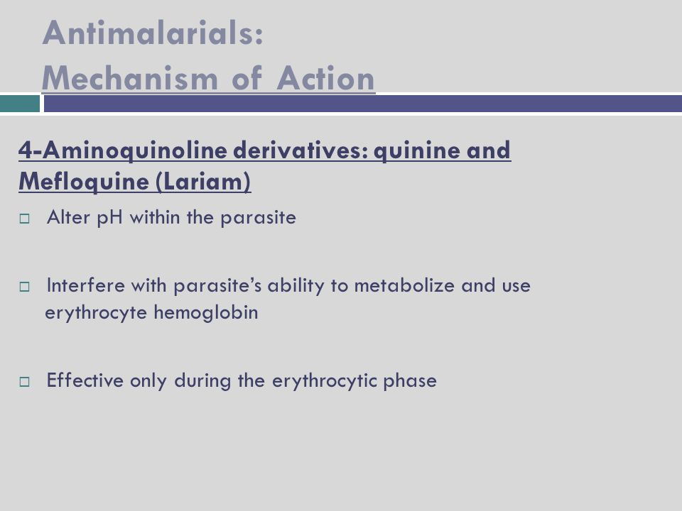 mechanism of action of antimalarial drugs pdf