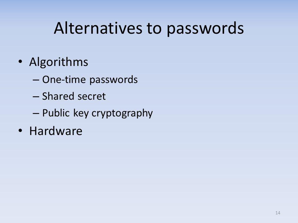 Alternatives to passwords