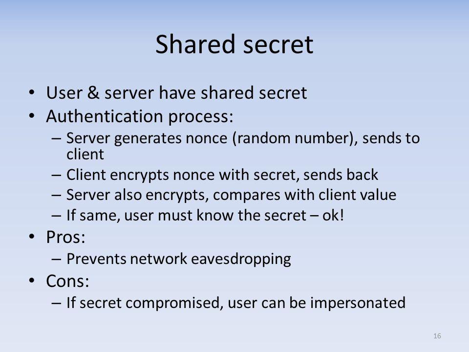 Shared secret User & server have shared secret Authentication process: