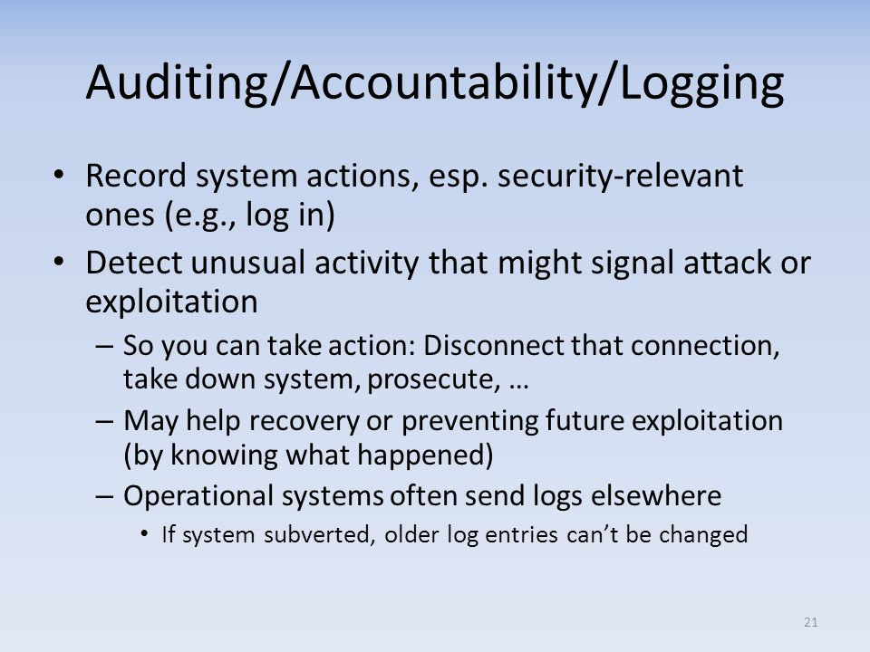 Auditing/Accountability/Logging
