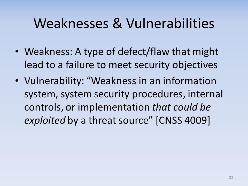 Weaknesses & Vulnerabilities