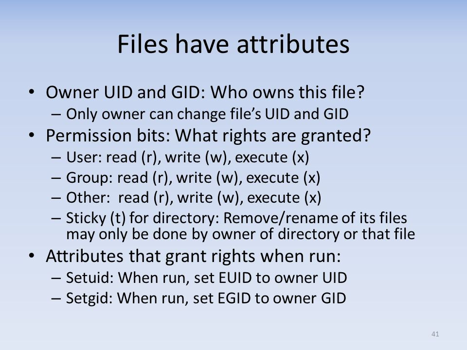 Files have attributes Owner UID and GID: Who owns this file