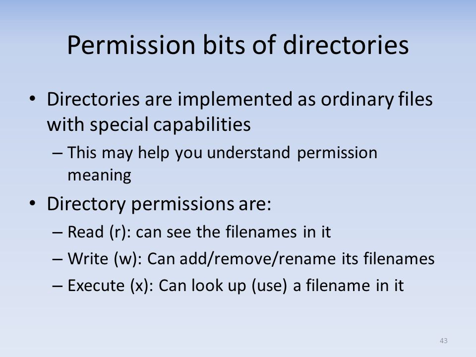 Permission bits of directories